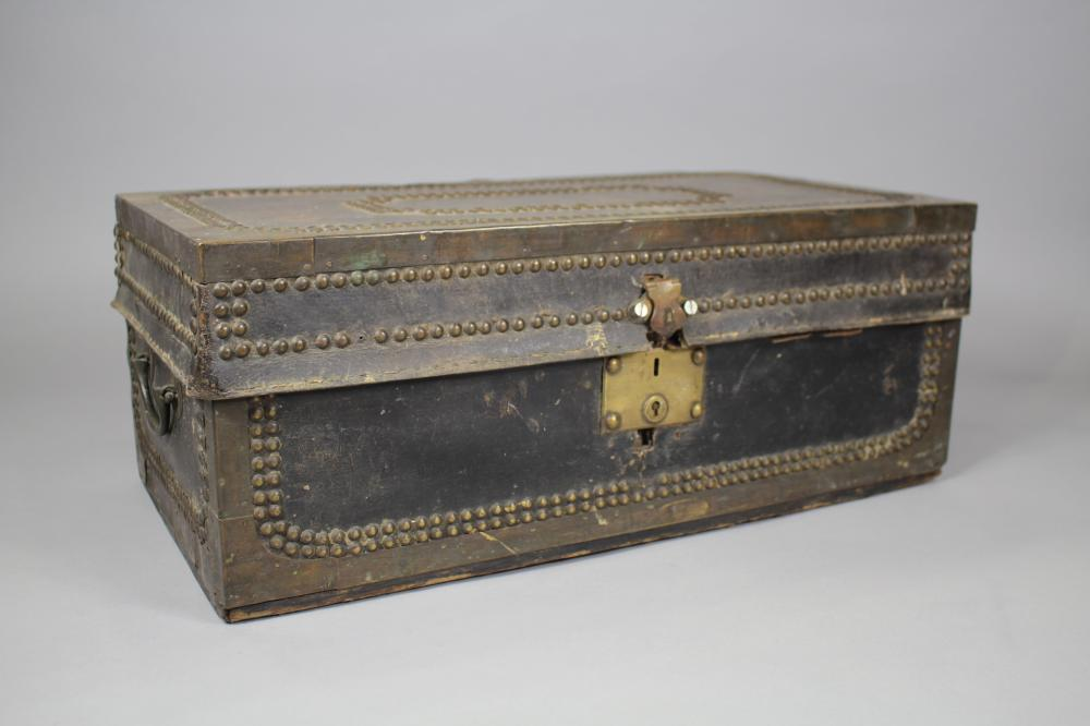 Antique late 19th Century French leather, brass studded & hardware box, approx 20cm H x 51cm W x 27cm D