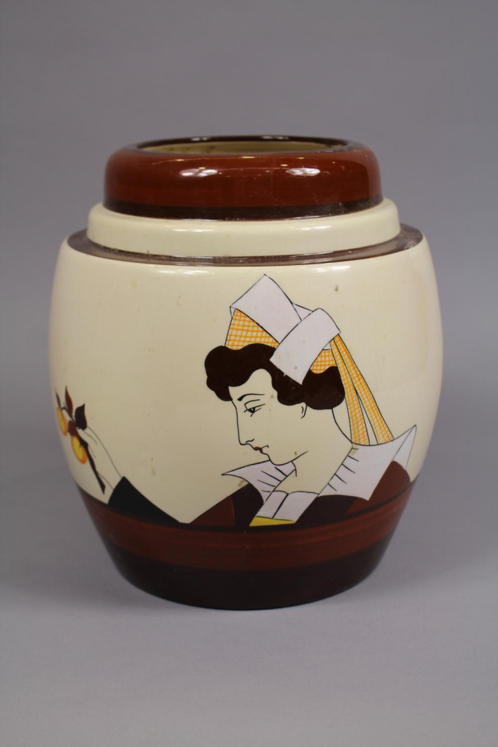 French HB Quimper vase with Breton male & female bust, approx 27cm H x 24cm Dia