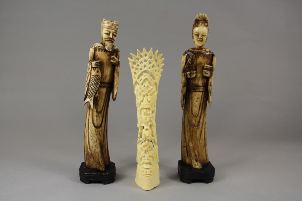 Pair of decorative Chinese figures along with South East Asian bone figure, approx 30cm H and shorter (3)
