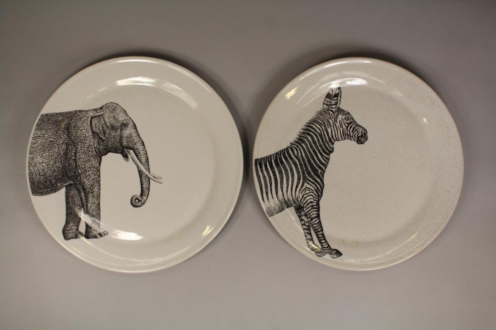 Two Orson & Blake plates, elephant and zebra pattern, each approx 36cm Dia (2)