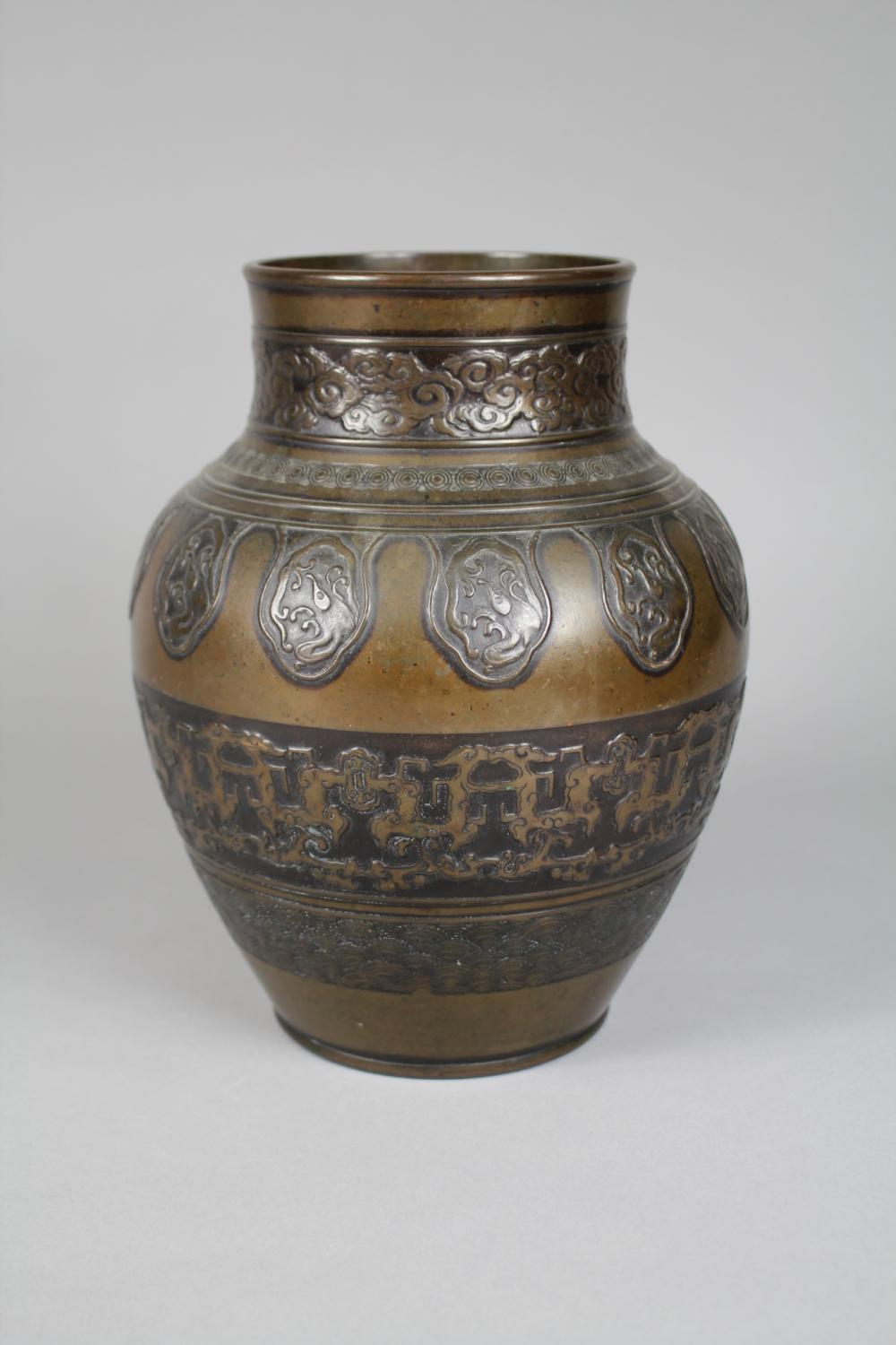 Old Chinese bronze vase, nicely made, approx 28cm H