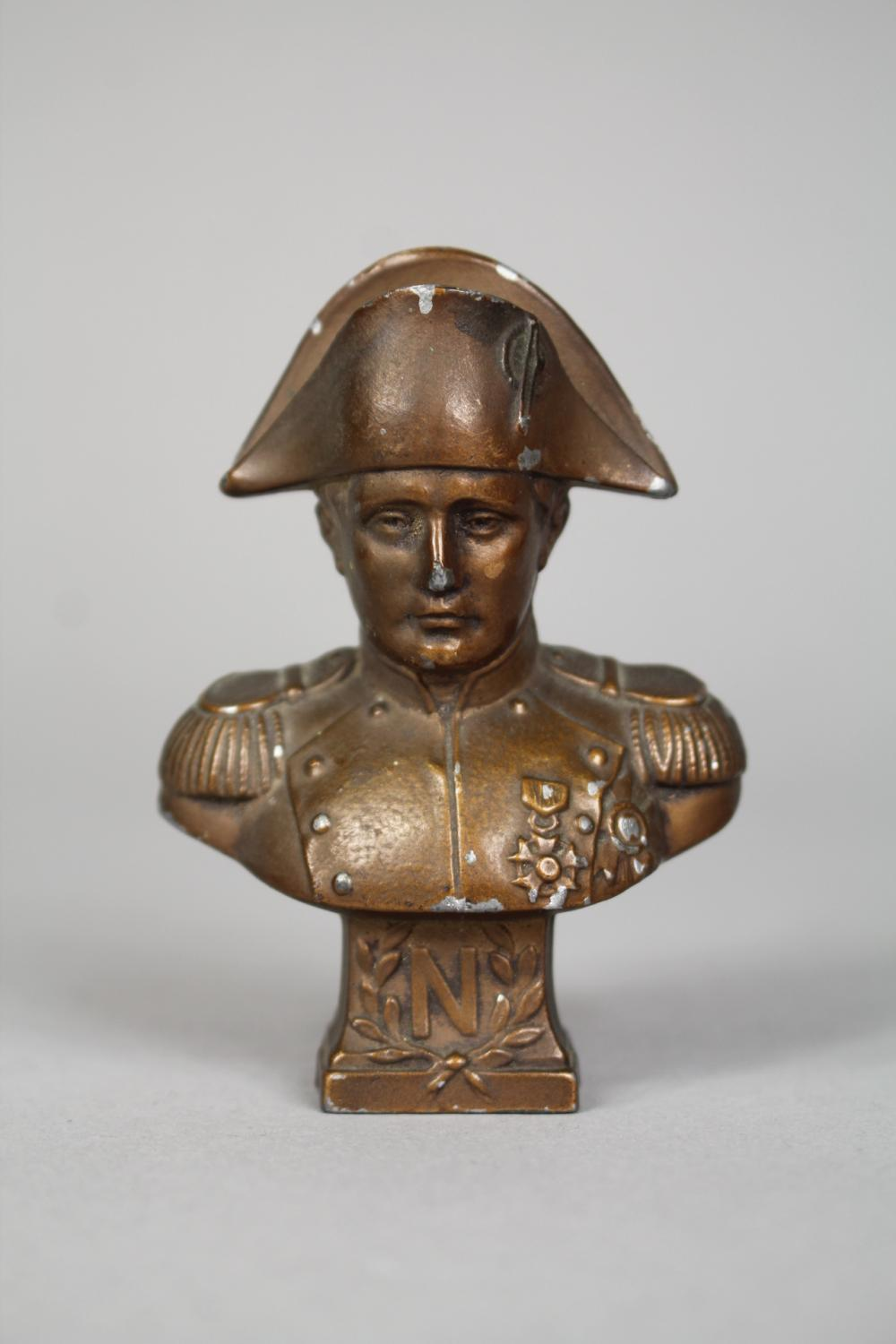 Miniature spelter Napoleon bust, approx 7.5cm H