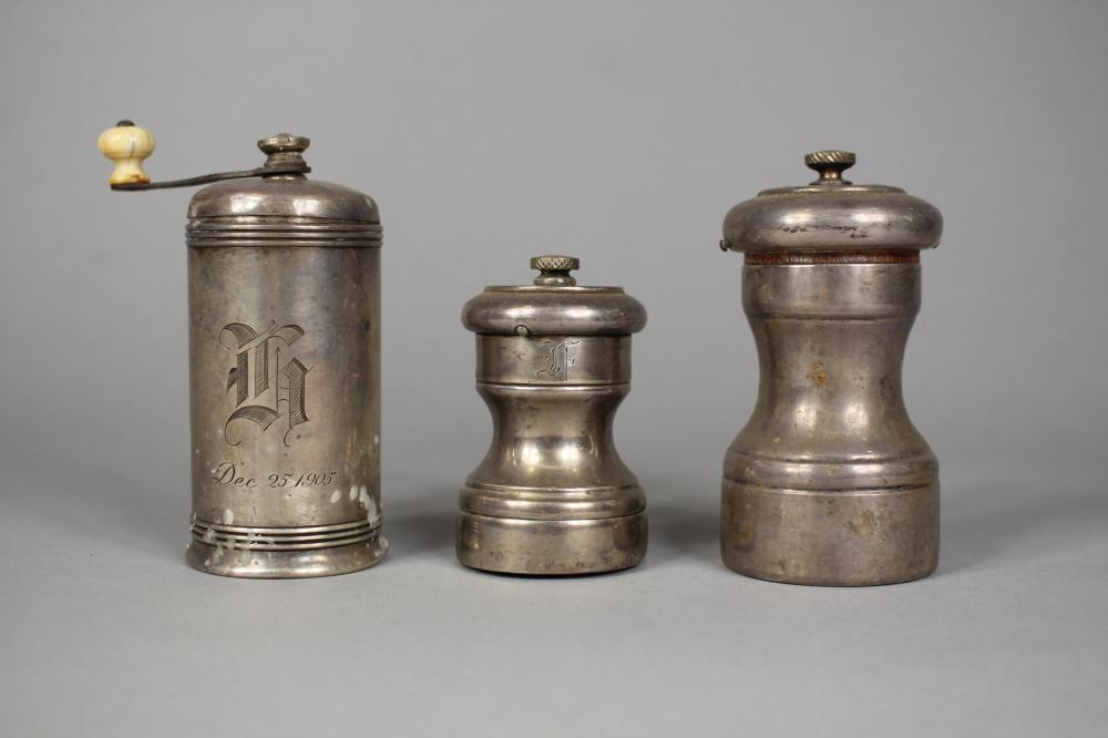 Three sterling silver peppermills (3)