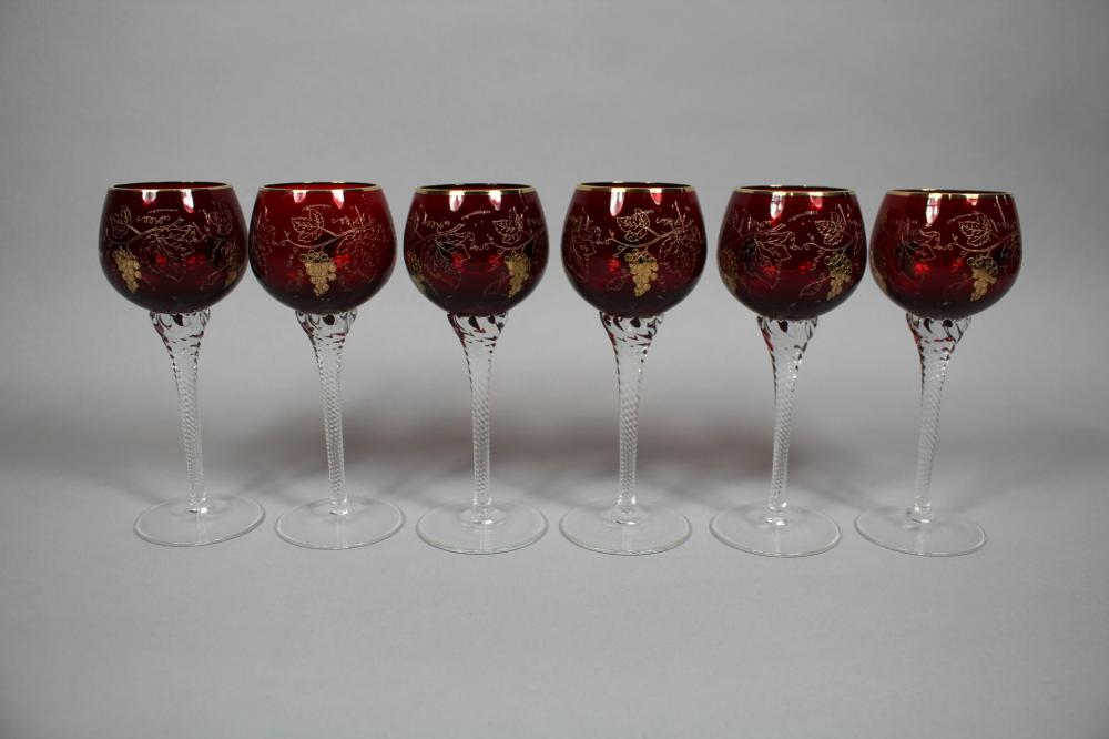 Set of six ruby glass & gilt highlight glasses, clear twist stems, unmarked, each approx 18cm H (6)