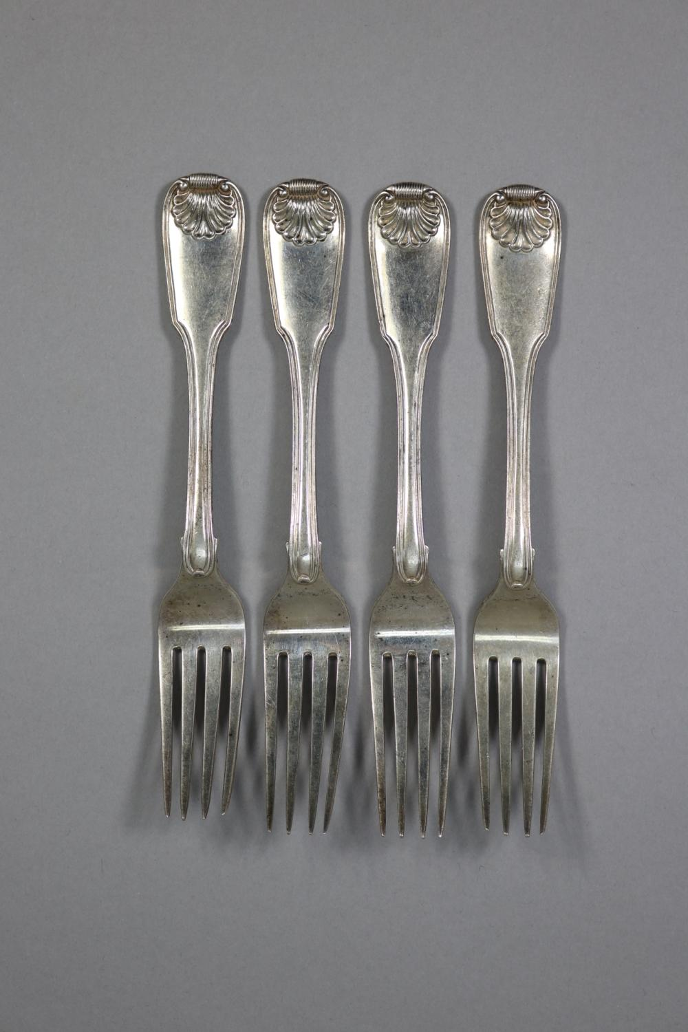 Set of four hallmarked sterling silver Fiddle, Thread and Shell pattern forks, London, 1822 - 1823, by William Chawner, approx 400 grams (4)