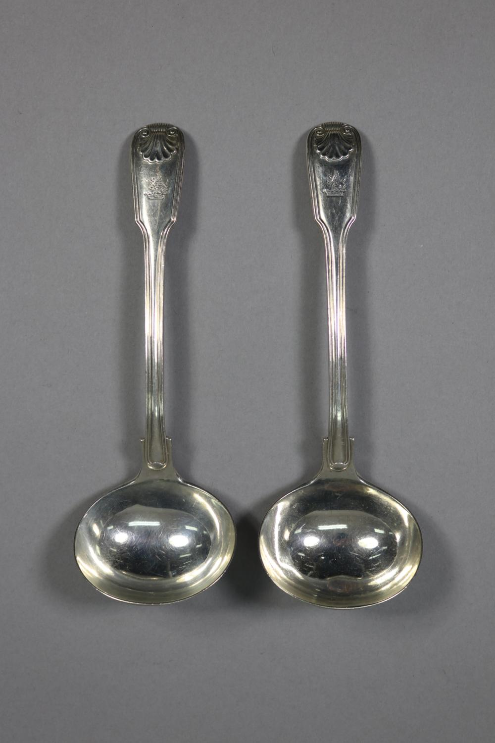 Pair of antique hallmarked sterling silver Fiddle, Thread and Shell pattern ladles, London, 1860 - 1861, George Adams, approx 165 grams (2)