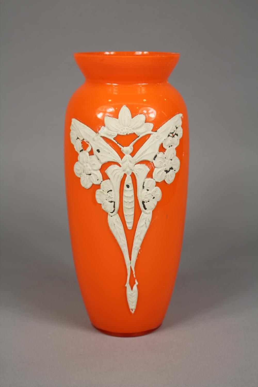 Art Nouveau orange coloured glass vase, with butterfly motif, approx 26cm H