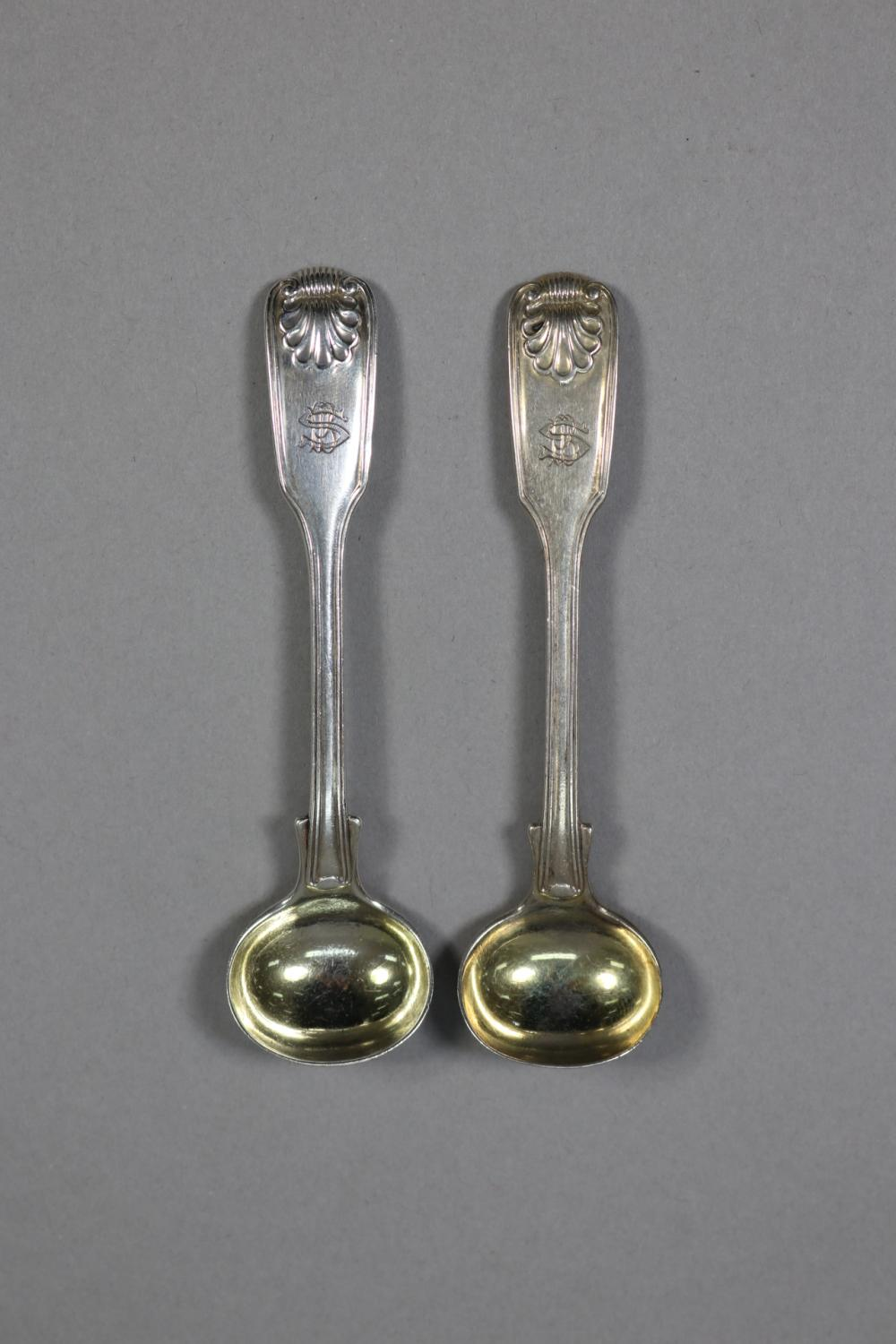 Pair of antique hallmarked sterling silver Fiddle, Thread and Shell pattern condiment spoons, London, 1821 - 1822, William Eley & William Fearn, approx 45 grams (2)