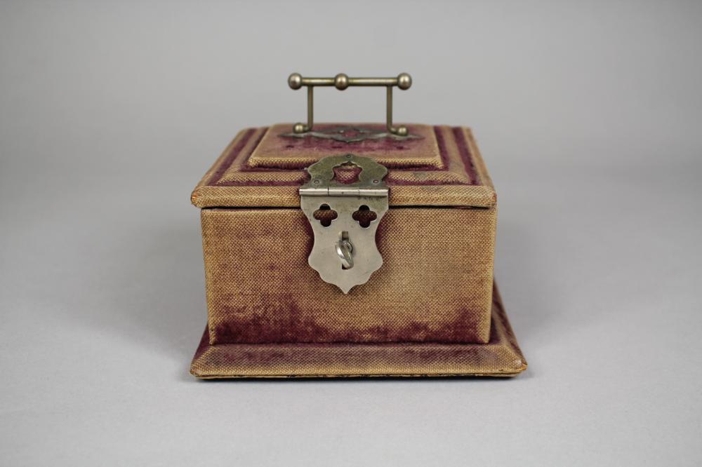 Antique jewellery box, approx 9cm H x 14cm sq