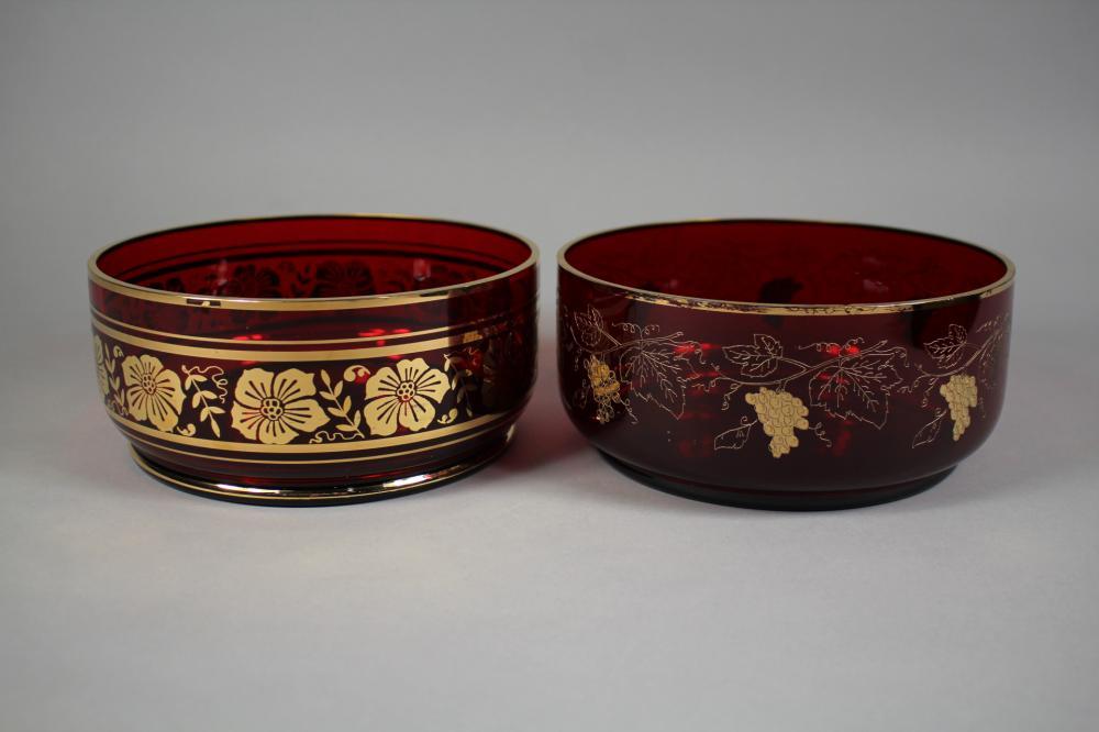 Two ruby & gilt glass bowls, each approx 9cm H x 19cm Dia (2)