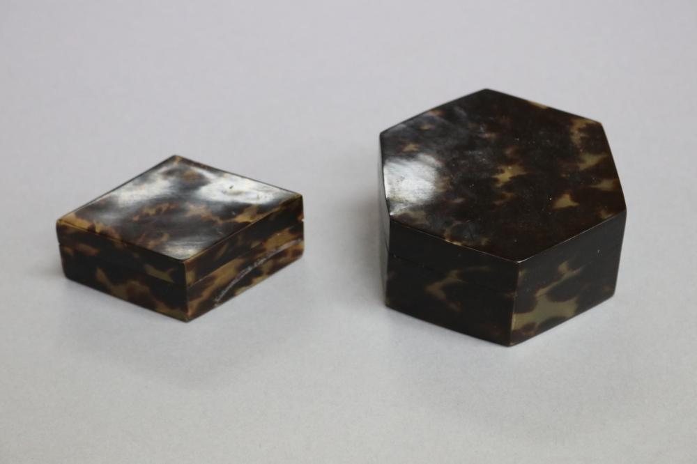Two real tortoise shell boxes, approx 3.5cm H x 8cm W and smaller (2)