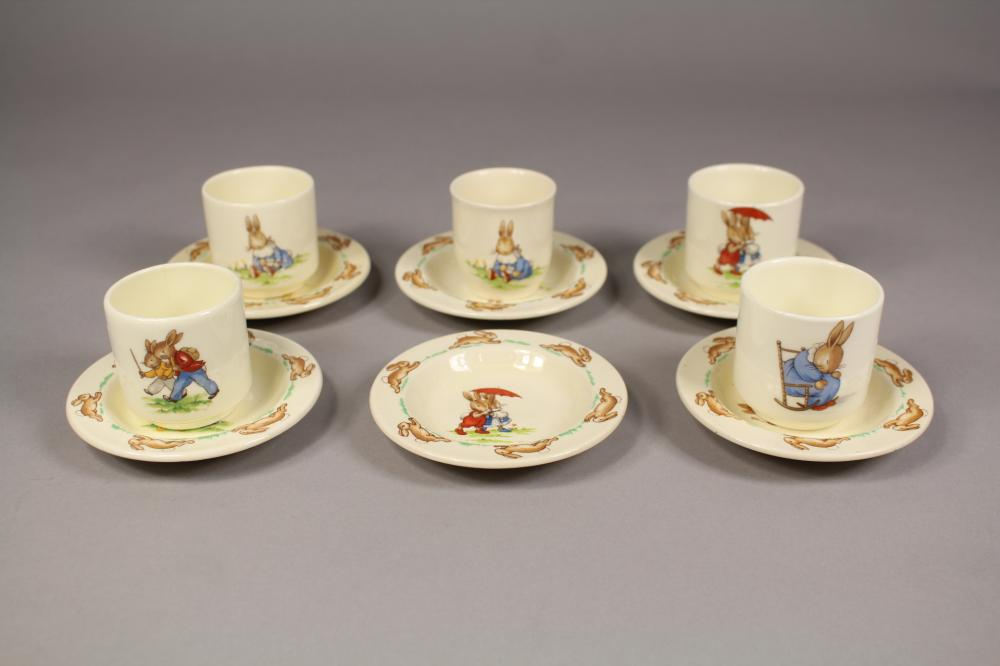 Assortment of Royal Doulton Bunnykins to include five cups and six saucers