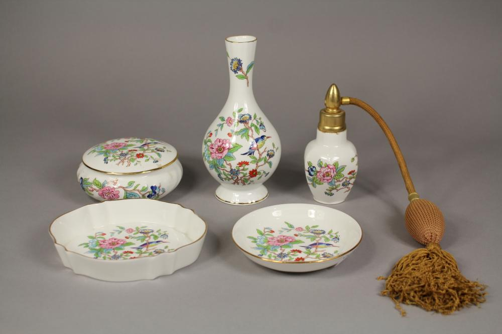 """Aynsley """"Pembroke"""" pattern dressing table set, approx 16cm H and shorter"""