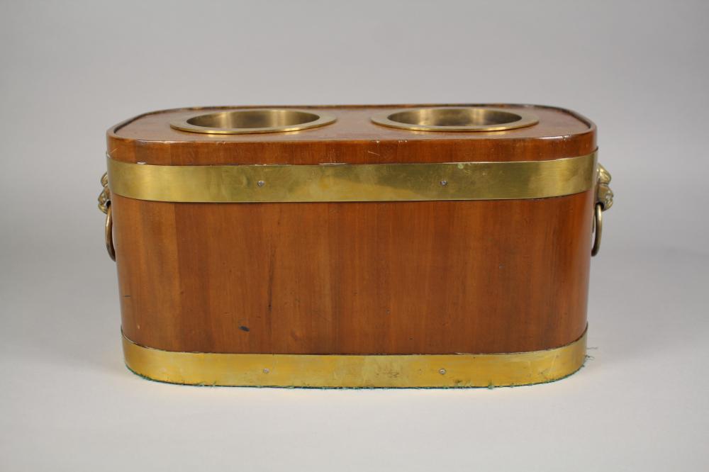 Regency style wine cooler with lion mask handles, approx 19cm H x 36cm W x 19cm D