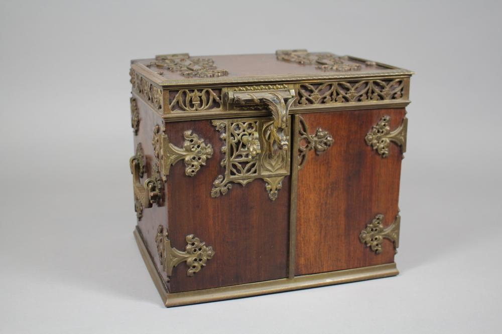 Antique late 19th Century Gothic Revival style walnut cigar humidor with a Griffin clasp to the doors, approx 22cm H x 25cm W x 19cm D