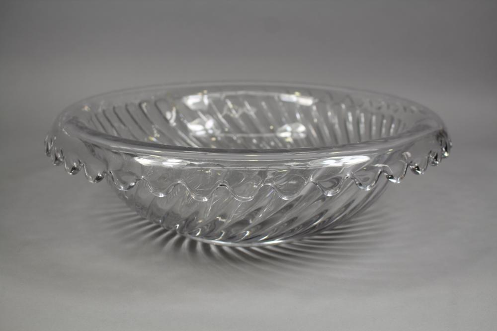Large Baccarat glass bowl with spiral moulded design, approx 12cm H x 42cm Dia