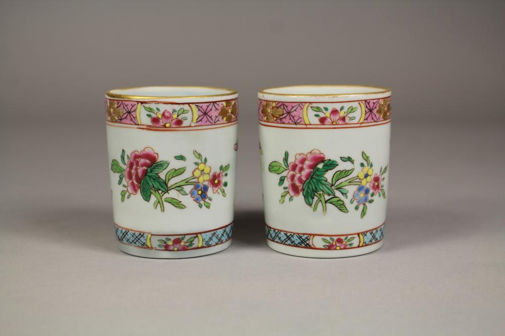 Pair of Antique Chinese export Famille Rose pattern & gilt highlighted porcelain cups / beakers, each approx 8cm H x 7cm Dia (2)