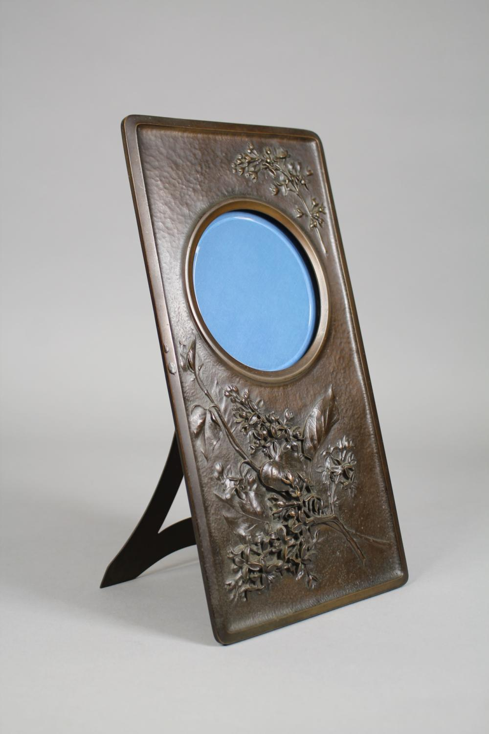 Antique French bronze easel back dressing table mirror, floral spray in relief, very finely cast, approx 28cm H x 15cm W
