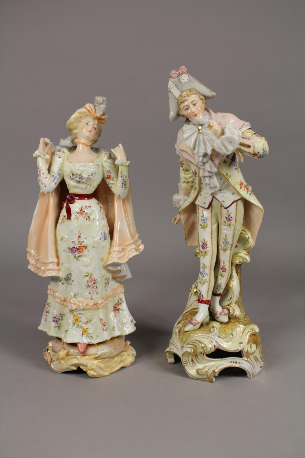 Pair of similar continental porcelain figures of gent & lady , approx 31cm H and shorter (2)
