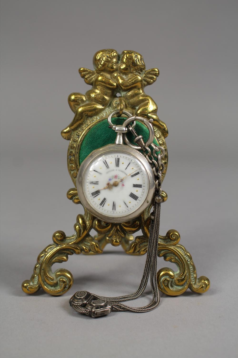French figural pocket watch stand with Boulon A Vibraye pocket watch, approx 14cm H x 11cm W (2)