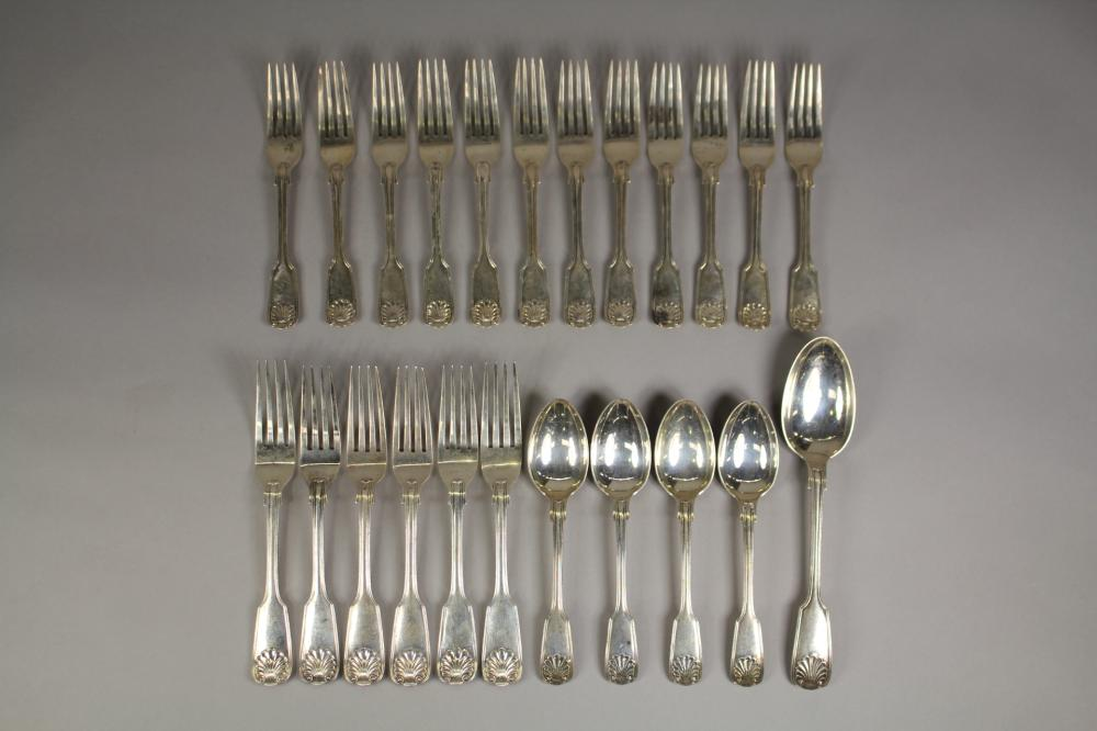 Good collection of hallmarked sterling silver Fiddle, Thread and Shell pattern forks & spoons, Sheffield, John Round & Son Ltd, approx 1875 grams
