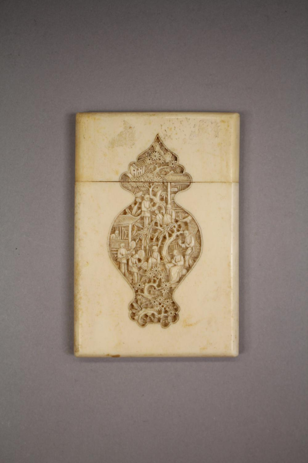 Antique 19th Century Chinese Cantonese ivory calling card case, carved in relief of figures & trees, approx 11.5cm x 7.5cm