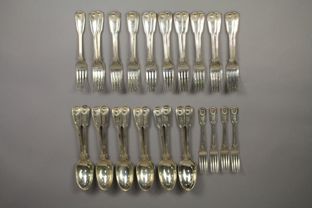 Antique hallmarked sterling silver Fiddle, Thread and Shell pattern part service, to include forks & spoons, London, 1861 - 1862, George Adams, approx 3450 grams