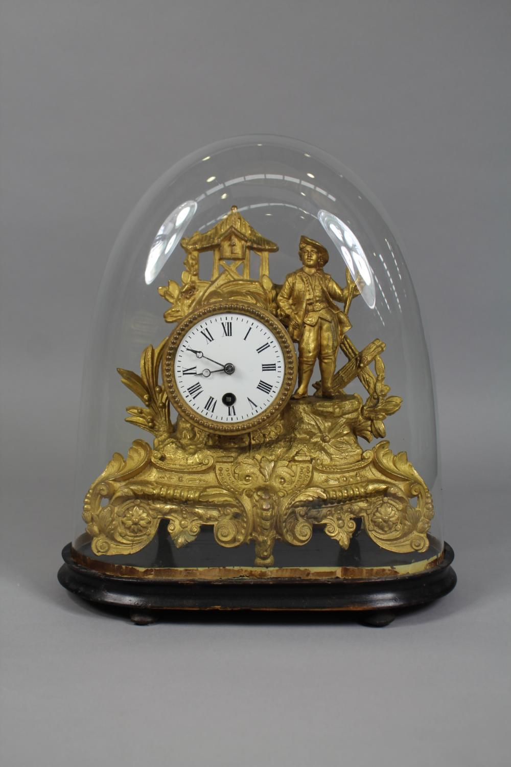 French gold painted spelter figural mantle clock with glass dome, no key, has pendulum, dome approx 34cm H x 30cm W