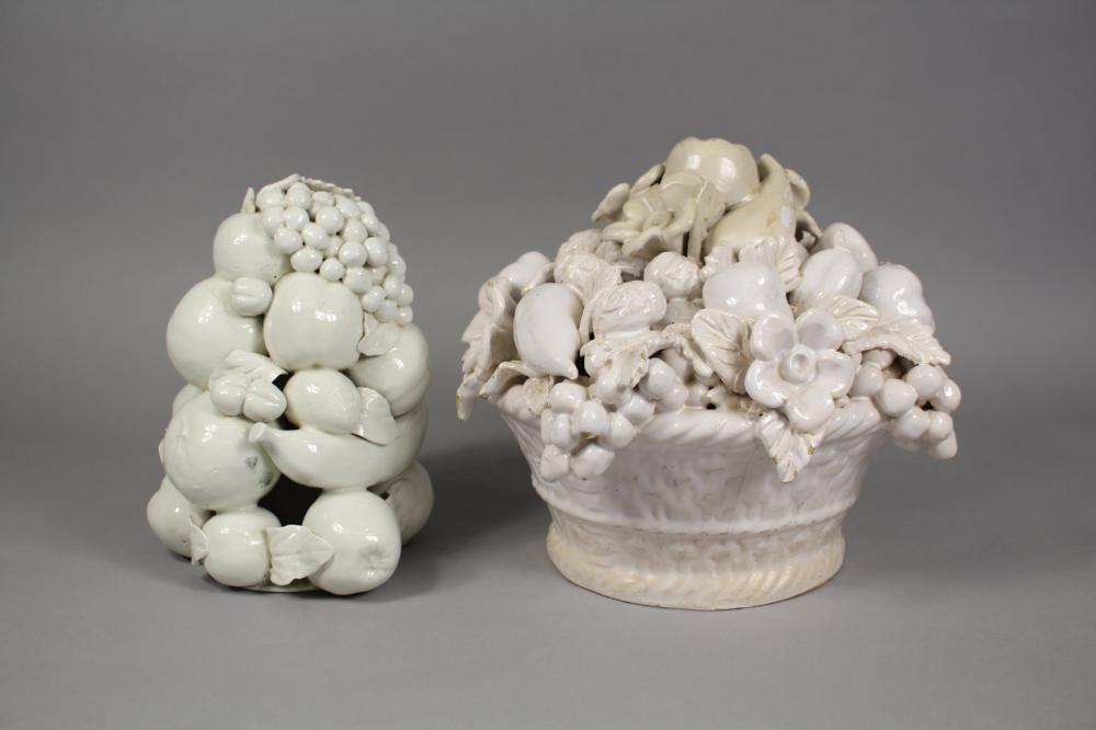Two European ceramic, white painted centrepieces, approx 23cm H x 27cm W and smaller (2)