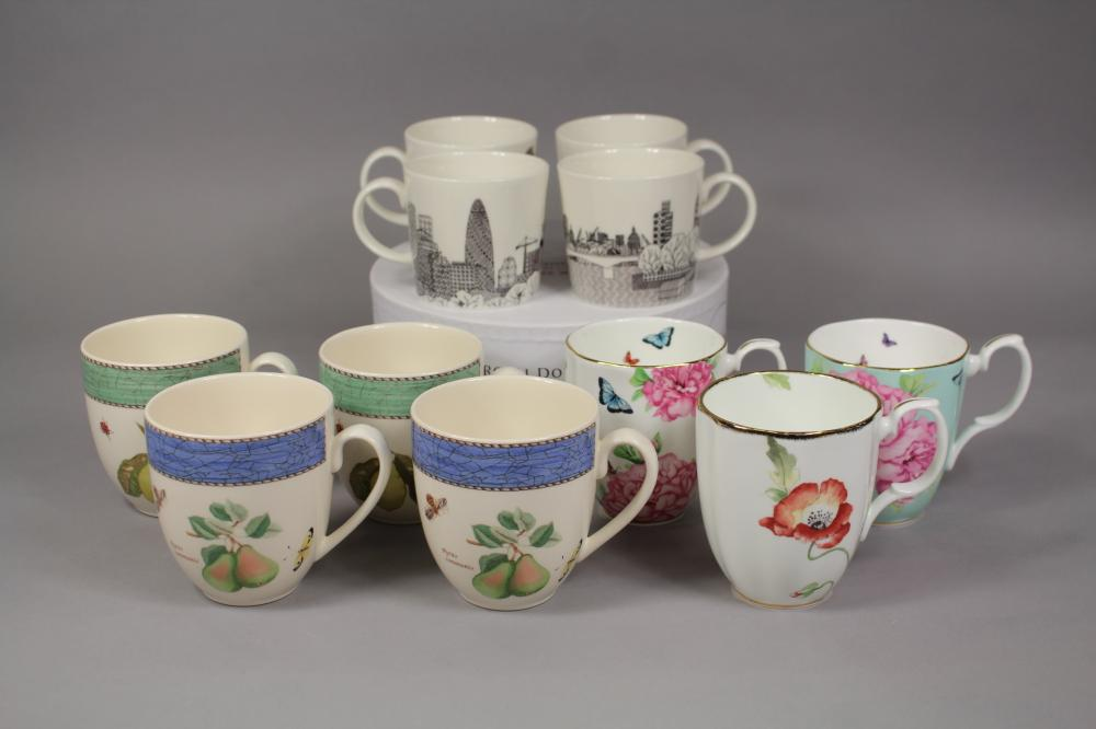 Collection of mugs to include Royal Doulton, Royal Albert, Wedgwood and others, approx 22cm Dia and smaller