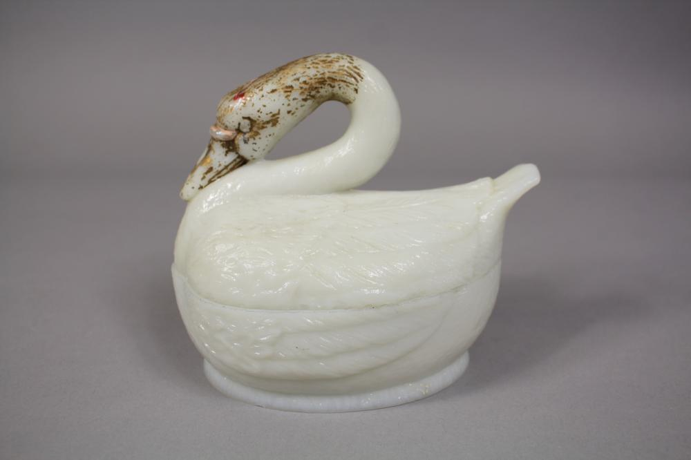 Antique French milk glass swan form cover dish / butter dish with rubbed gilt highlights, embossed Portieux in base, approx 13cm H x 15cm L