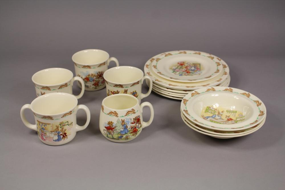 Assortment of Royal Doulton Bunnykins to include mugs, plates, bowls, and one Easter plate