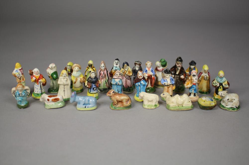 Assortment of miniature Staffordshire figures, approx 4cm H and shorter