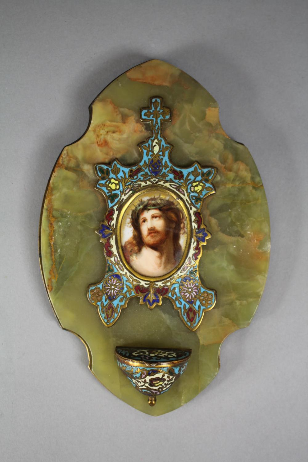 Antique French green onyx & champleve enamel blessing font, central portrait of our Lord & Saviour Jesus Christ, approx 18cm H x 12cm W