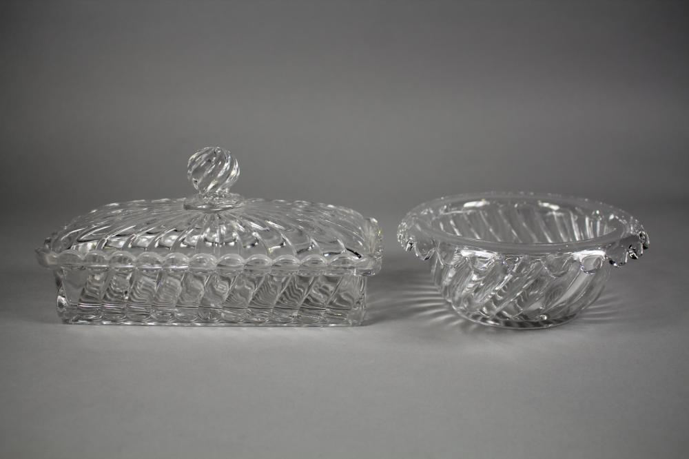 Baccarat glass lidded dressing table box & bowl, of swirl moulded design approx 22cm W and smaller (2)