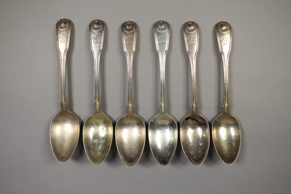 Set of six antique hallmarked sterling silver Fiddle, Thread and Shell pattern spoons, London, 1803 - 1804, William Eley & William Fearn, approx 530 grams