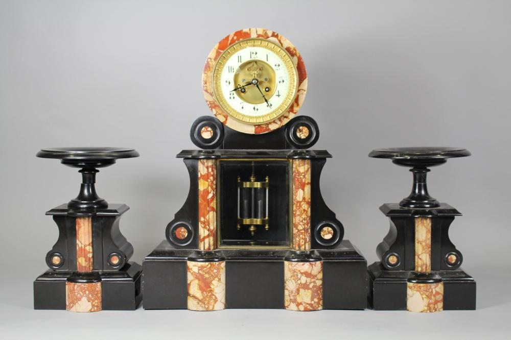 Antique French black slate & marble mantle clock & garnitures, has key (in office C115.252) and pendulum, clock approx 49cm H x 39cm W x 14cm D