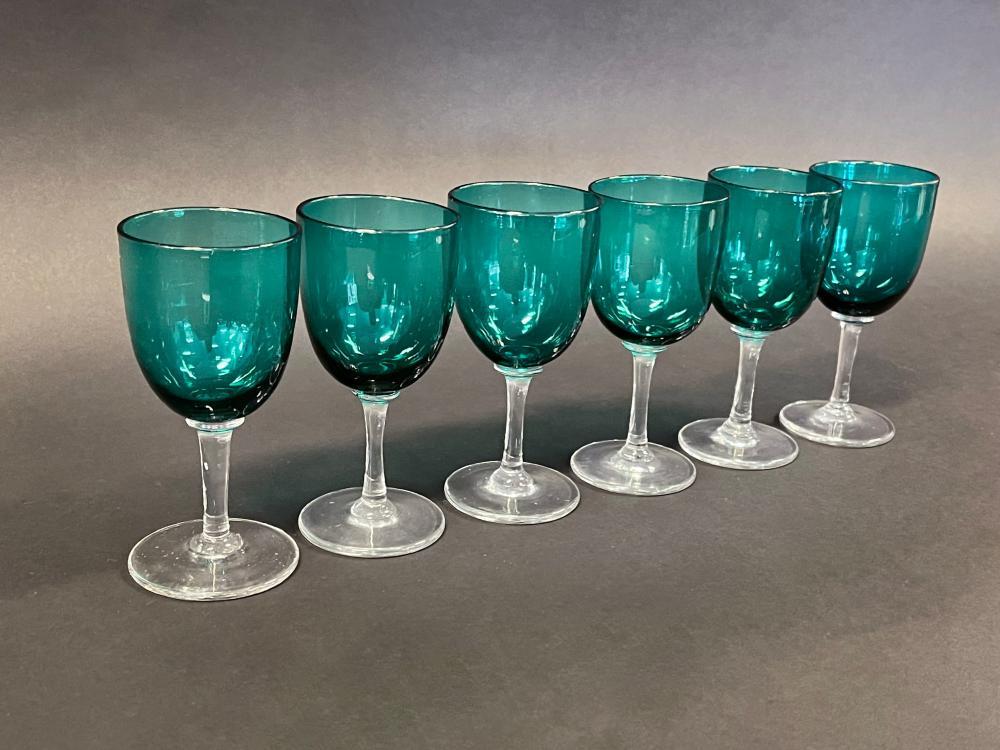 Set of six Antique Bristol green wine glasses (6) 12.5 cm high