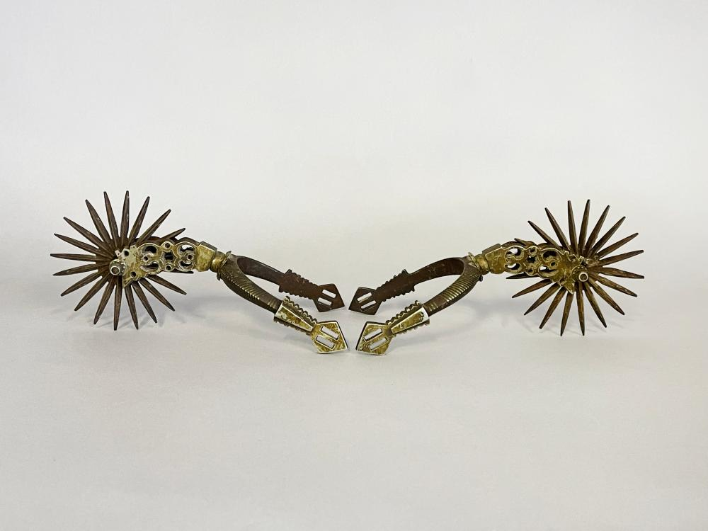 Pair of antique Cavalry spurs, early 17th century. By repute given to Sir Lytton of Knebworth Castle Hertfordshire by King Charles. King Charles participated in hunting on Knebworth Castle estate, these spurs…