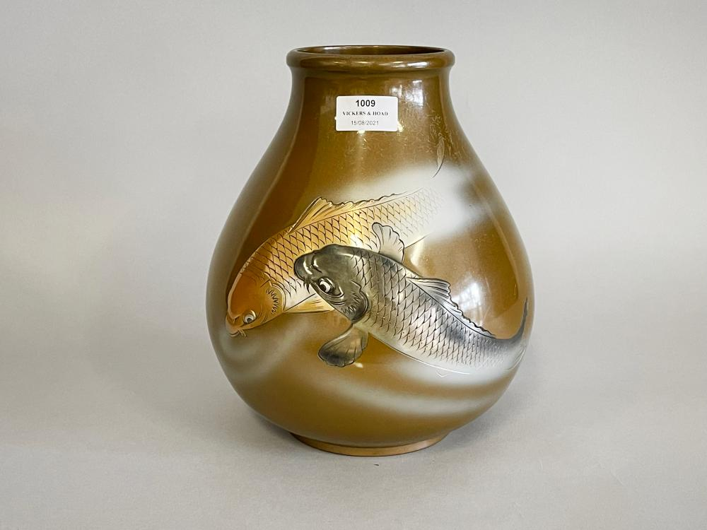 Fine antique Japanese bronze vase, decorated in low relief with a gold and silver carp, signed to back, approx 26cm H