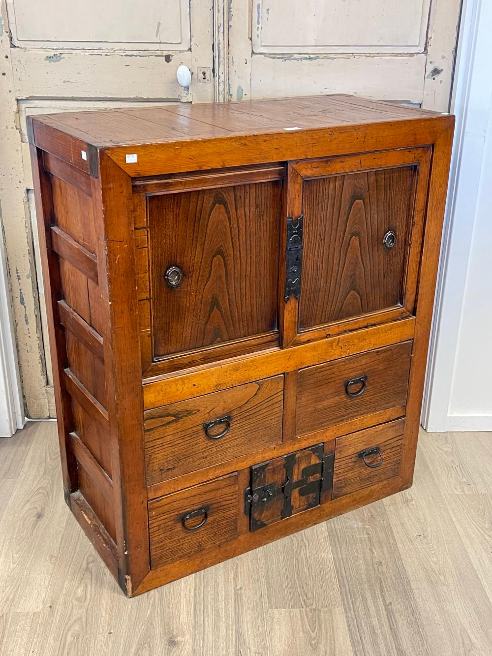 Antique Japanese Tansu cabinet, with iron mounts and handles, lower central lockable tea storage drawer, approx 116cm H x 98cm W x 48cm D