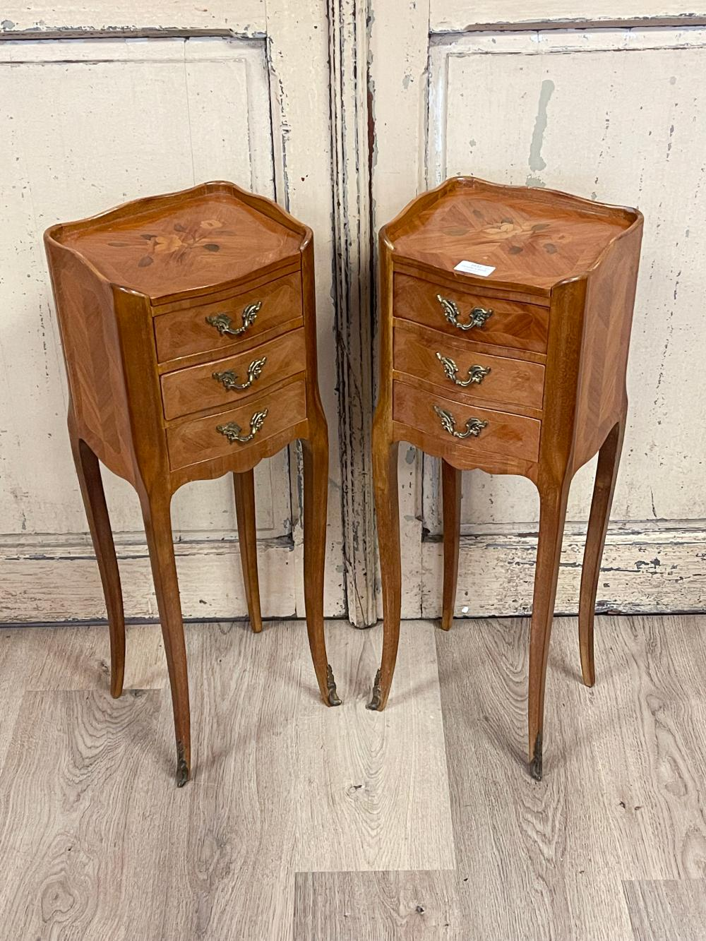 Pair of vintage French Louis XV style petite size nightstands, fitted with three drawers, each approx 69cm H x 24cm W (2)