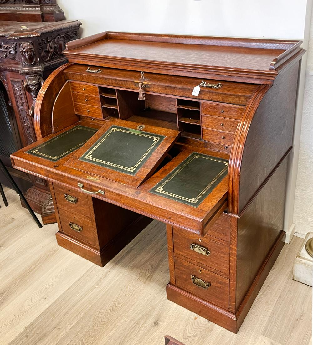 Antique Oak twin pedestal roll top desk, pull out leather topped writing slide, approx 118cm H x 122cm W x 68cm D