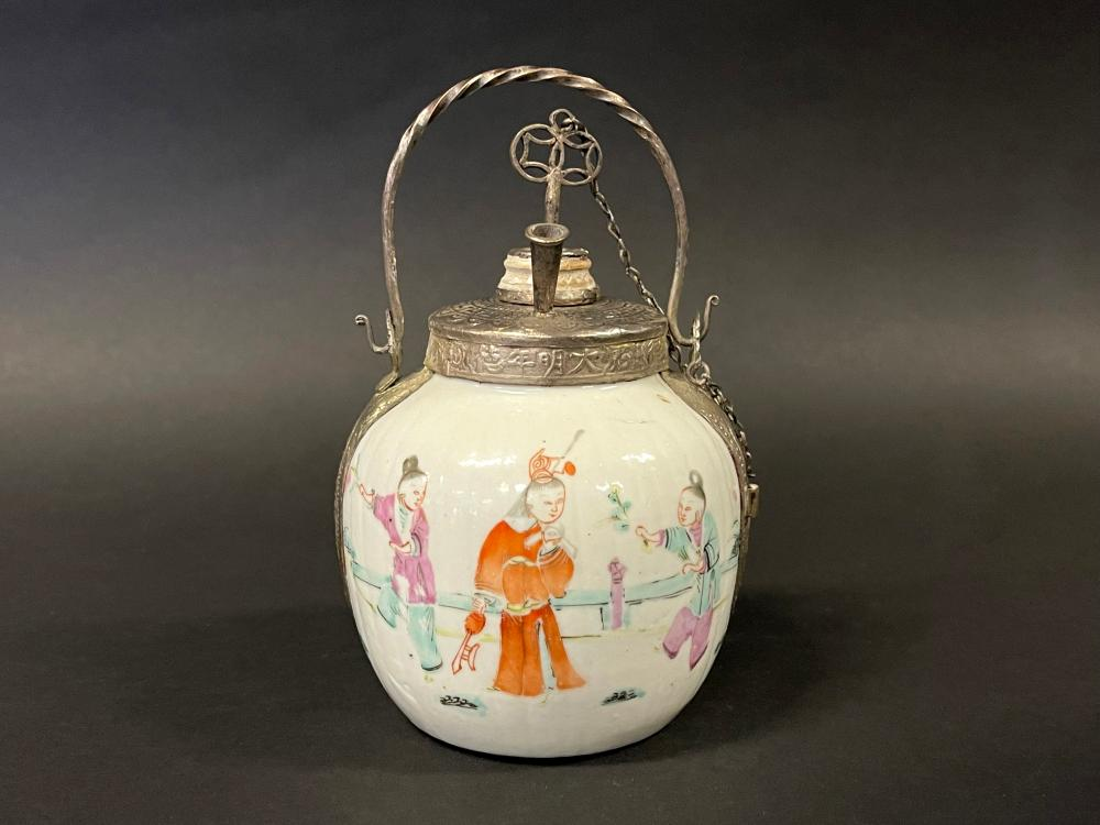 Antique Chinese famille Rose opium jar, approx 13cm H