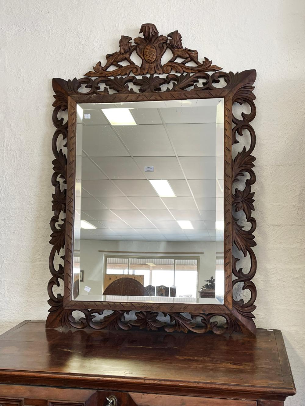 Antique French carved and pierced cushion shaped mirror, approx 128cm H x 86cm W