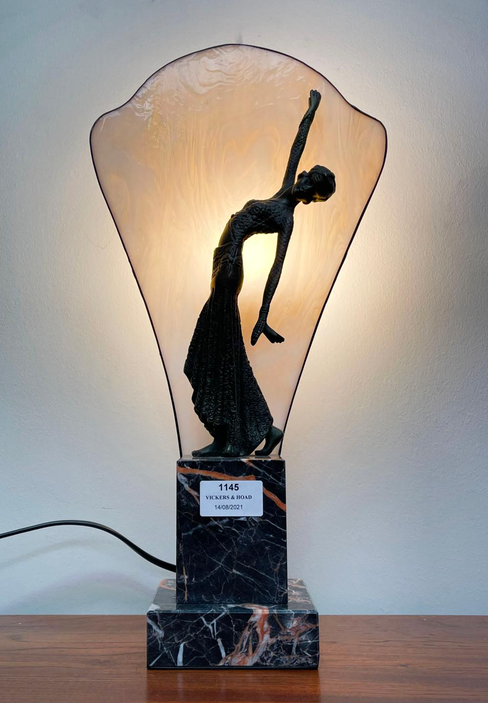 Art Deco style bronze and marble dancer light, approx 42cm H