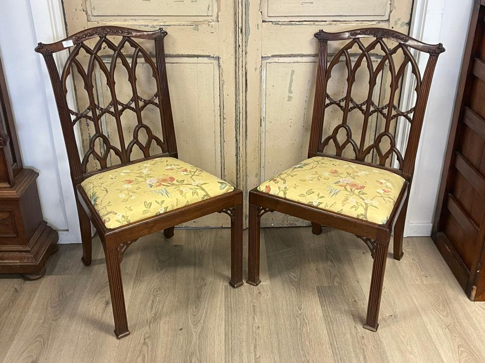 Fine pair of antique Georgian revival Gothic chairs, pierced carved fluted backs, drop in seats (2)