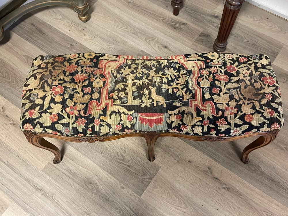 Antique French Louis XV revival carved oak six leg stool, with studded wool work upholstery, 107 cm long x 52 cm high
