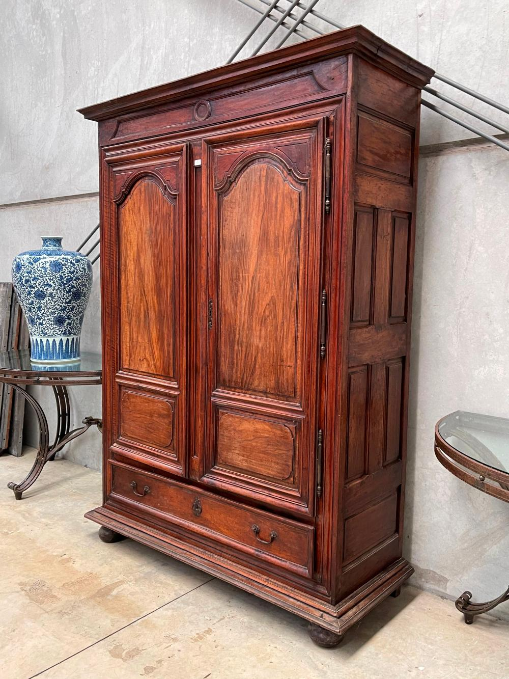 Antique French walnut late 18th / early 19th century two door armoire, with single long drawer below, all on bun feet, approx 233cm H x 168cm W x 63cm D