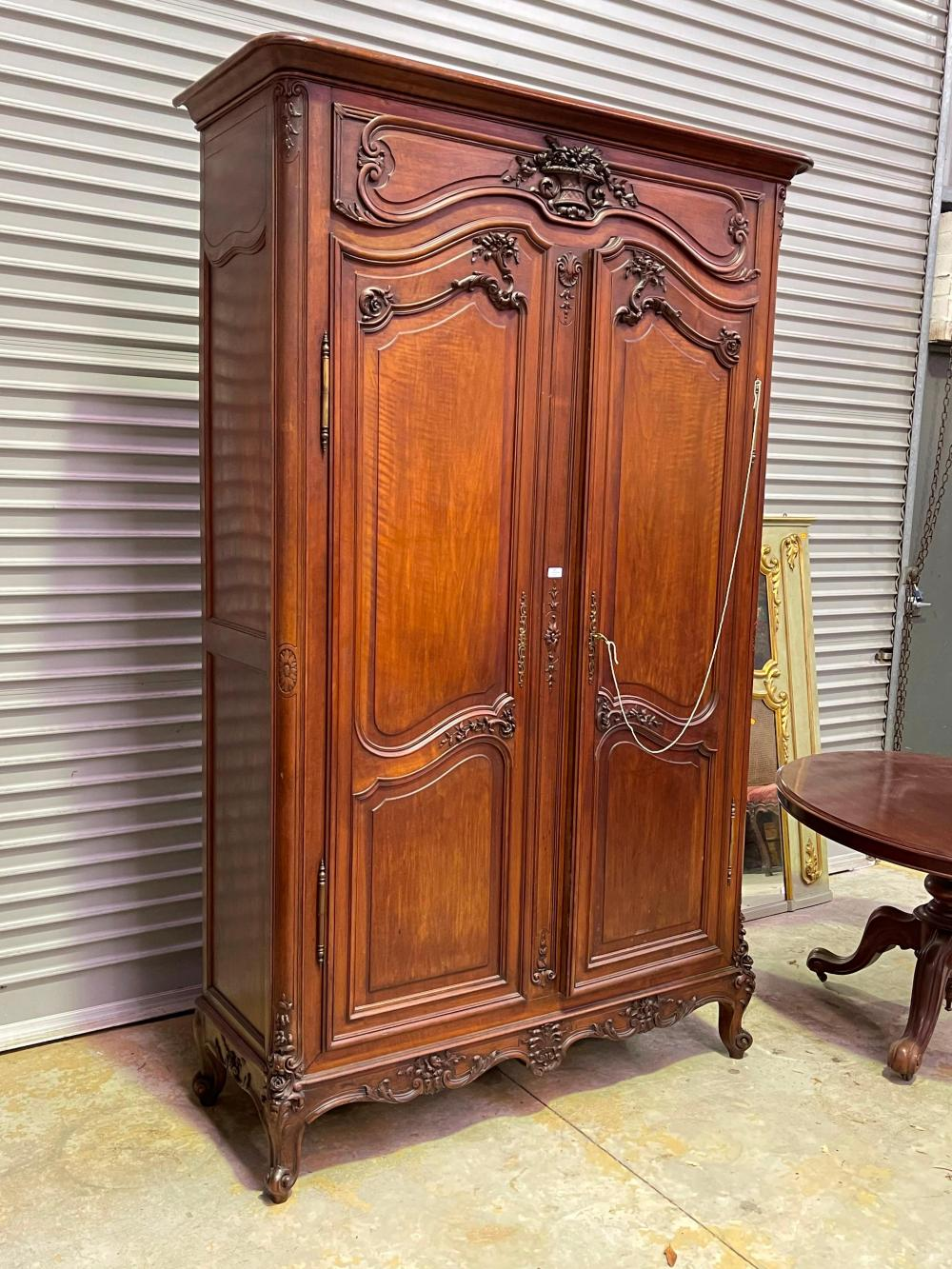 Antique French Louis XV style two door armoire of unique design, tall & thinner than usual, approx 243cm H x 150cm W x 54cm D